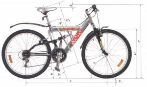 Основные размеры велосипеда