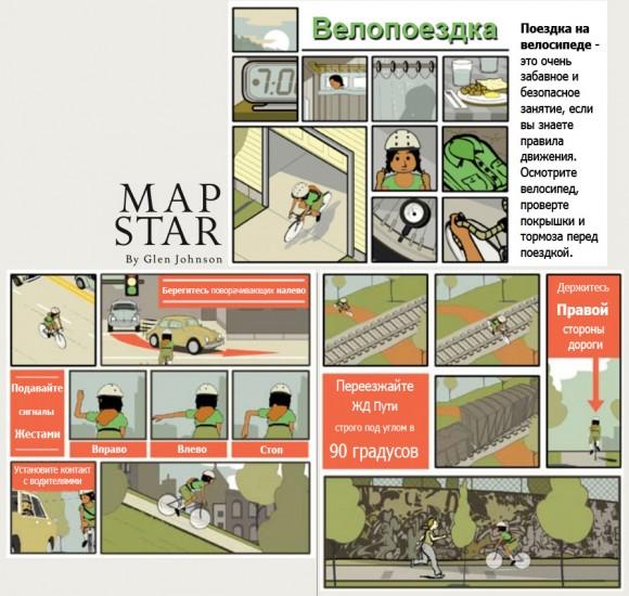 схема безопасной езды на велосипеде в городе