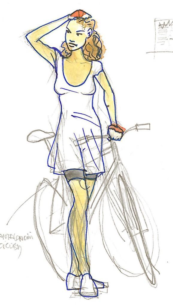 Рисованные девушки и велосипед