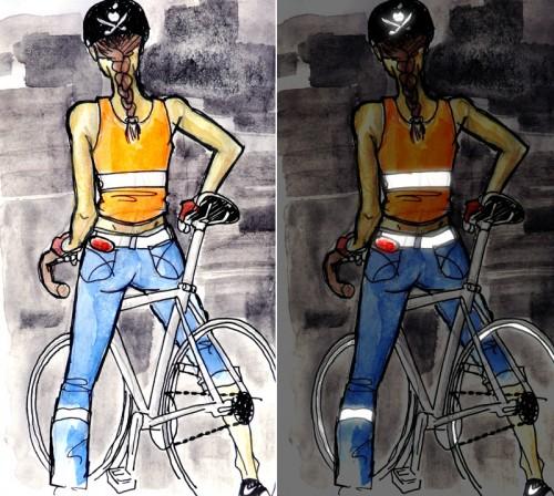 Рисованные девушки и велосипед baby bike anime