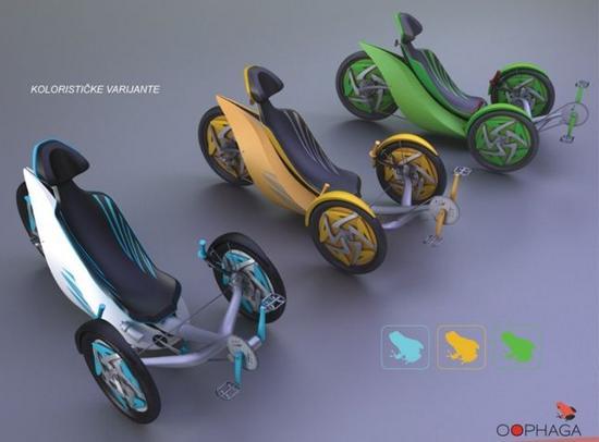 OOPHAGA – лежачий велосипед концептуального велосипеда.