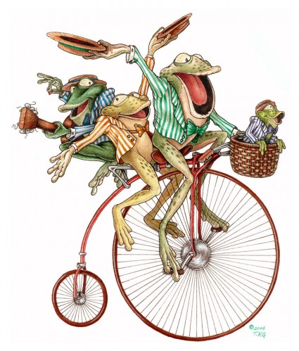 лягушки на велосипеде Froggy bike