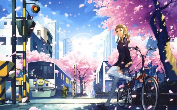 Рисованная девушка на велосипеде в городе