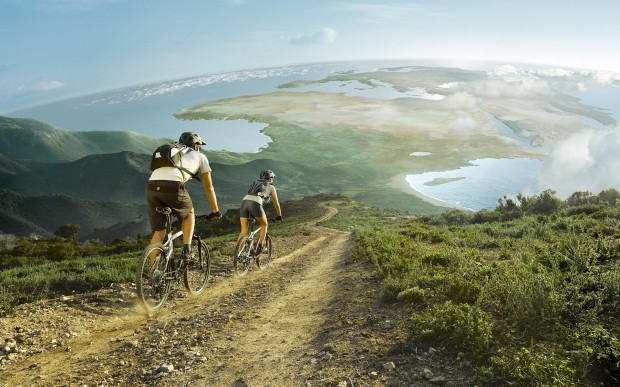 Велосипедные обои спуск на горном велосипеде