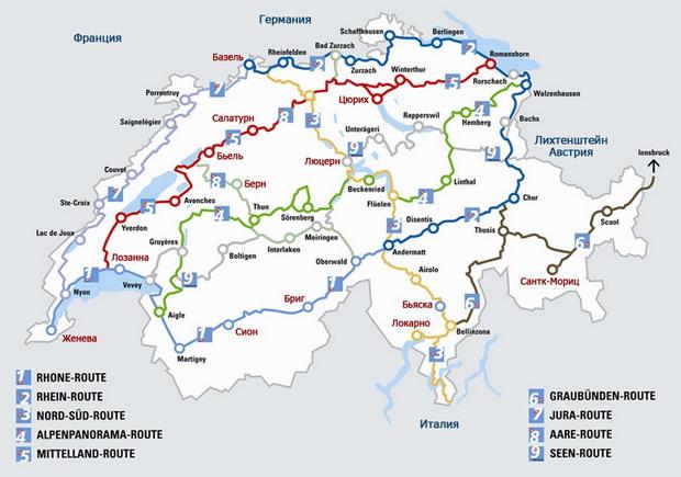 Горный Велосипедный Туризм в Швейцарии карты swiss map