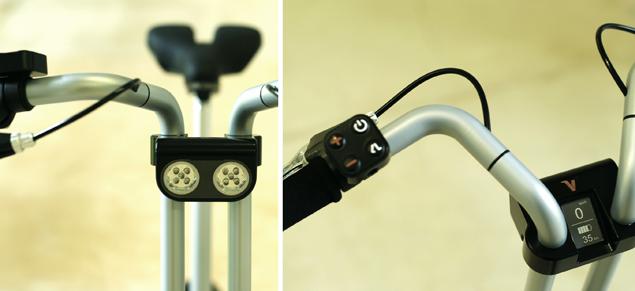 Складной велосипед в виде швейцарского ножа Voltitude - фонари и руль