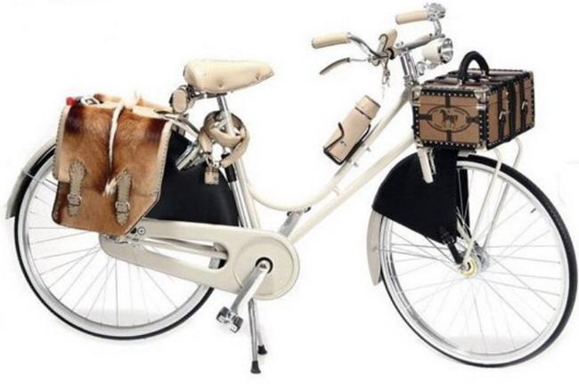 велосипедный багажник в виде дамского сундучка, и в виде конской сбруи в задней части дамского велосипеда