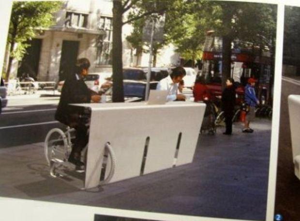 Велосипедный столик общего пользования