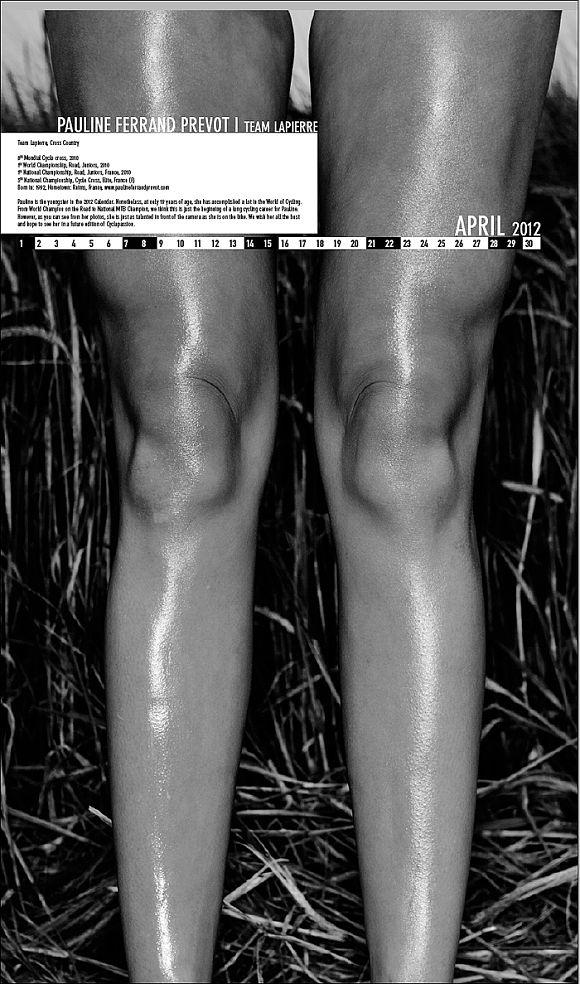 Велосипедный календарь Cyclapassion 2012 женские ножки в апреле
