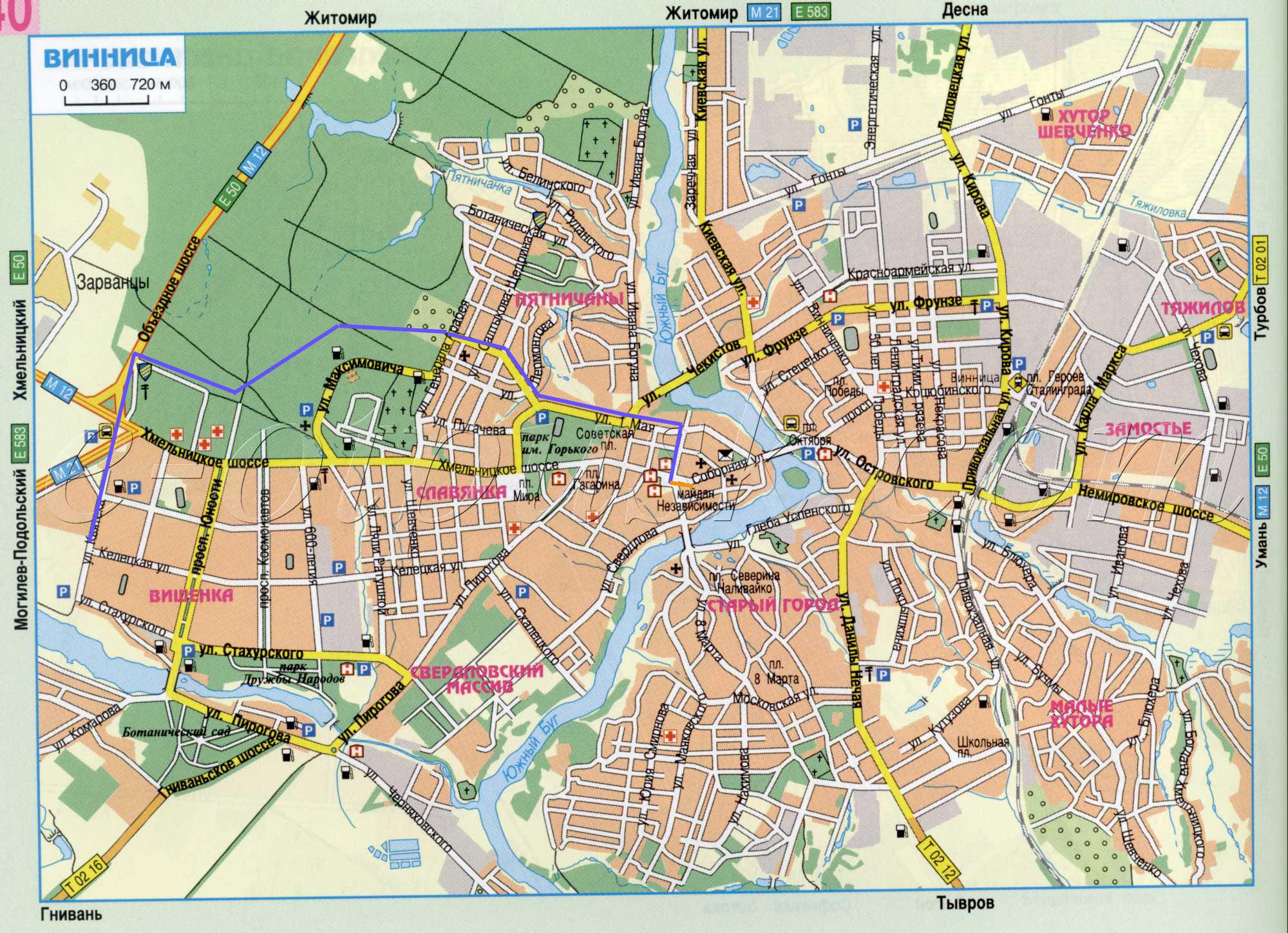 Карта велосипедной Винницы