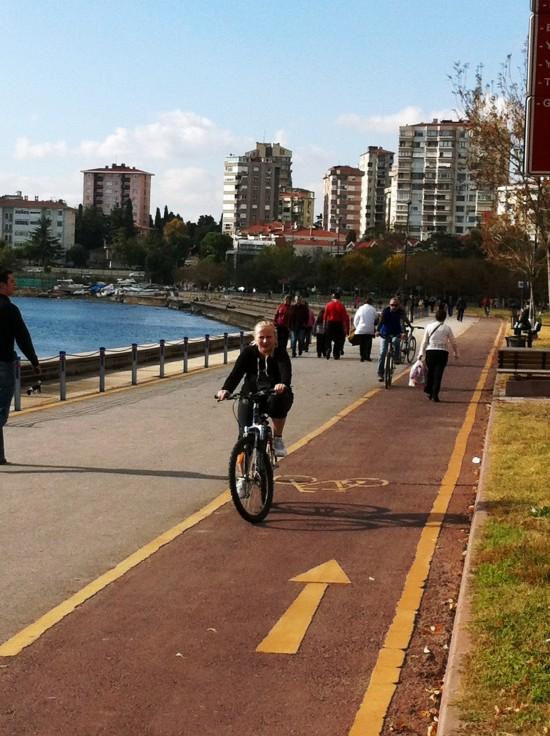 велодорожка и прогуливающаяся по ней тетечка