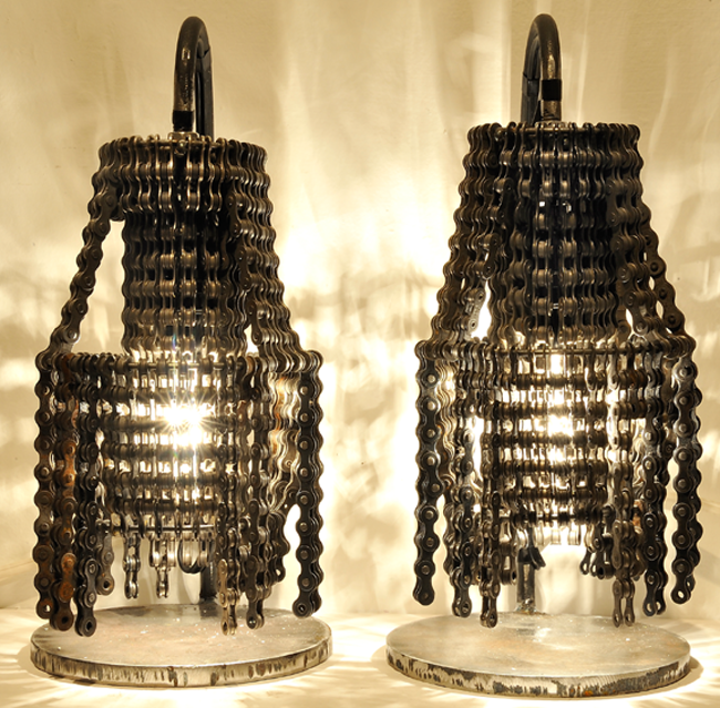 светильники из велосипедных деталей