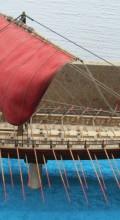 модель боевого корабля в масштабе Греческая бирема боковой вид