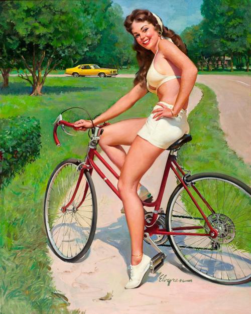 американка на велосипеде рисованая