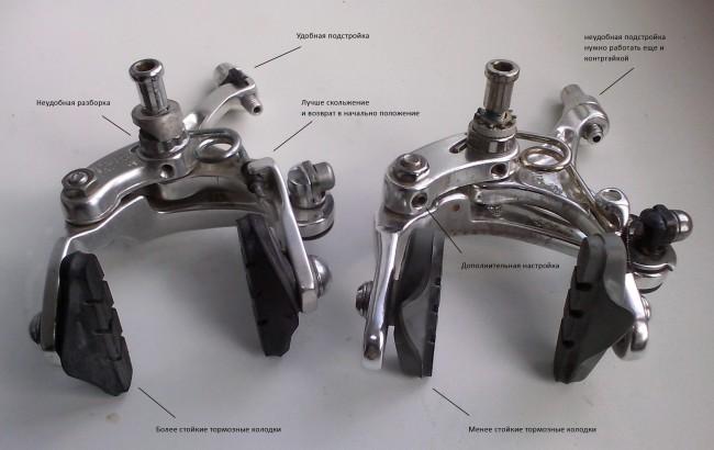 Велосипедные тормоза Shimano Tiagra и Truvativ различие
