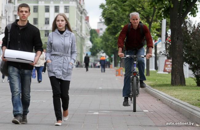 американский велосипедист в Беларуси