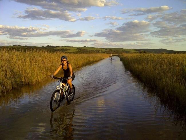 на велосипеде по воде