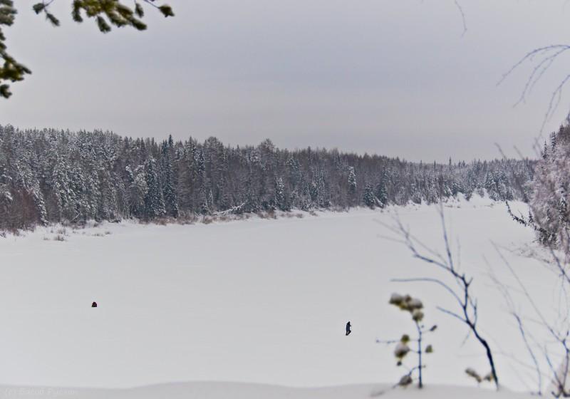 Поездка выдалась не особо примечательной. В соседнюю деревню (или посёлок) Поляна. Мы быстро объехали и на возврате, перед деревней заех... заползли на берег Ижмы для чаепития. Внизу, по льду реки, бродили местные пингвины