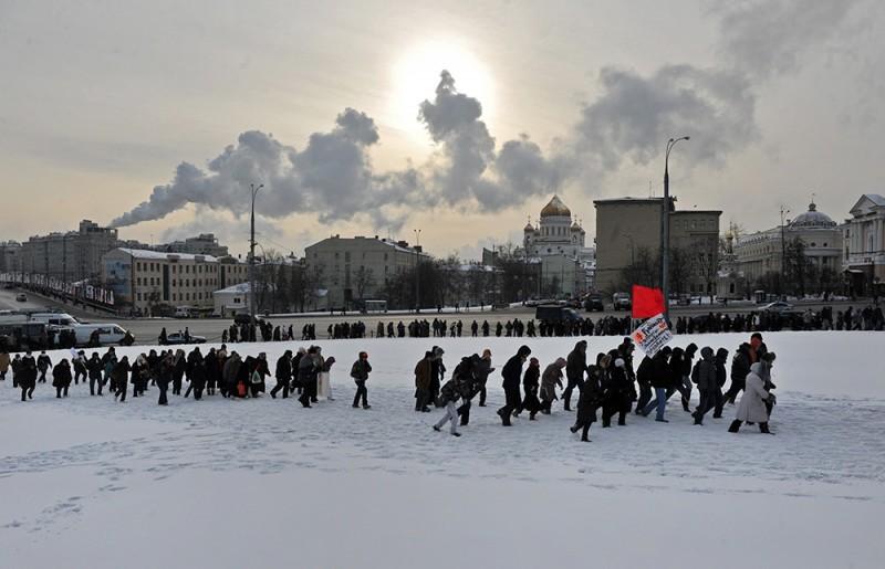 Участники митинга оппозиции «За честные выборы» 4 февраля в Москве