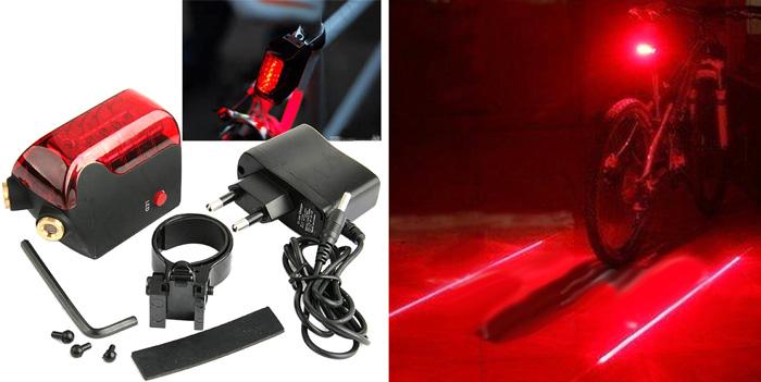 Задняя велофара с лазерными габаритами HUI-43323