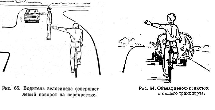 поворот велосипедиста налево