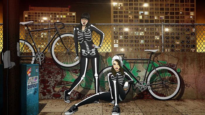 Скелет девочки велосипедистки