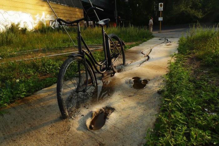 застрял велосипед