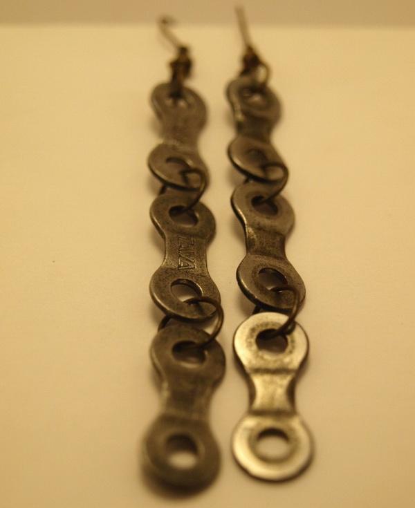 Серьги из цепи велосипеда 3 звена