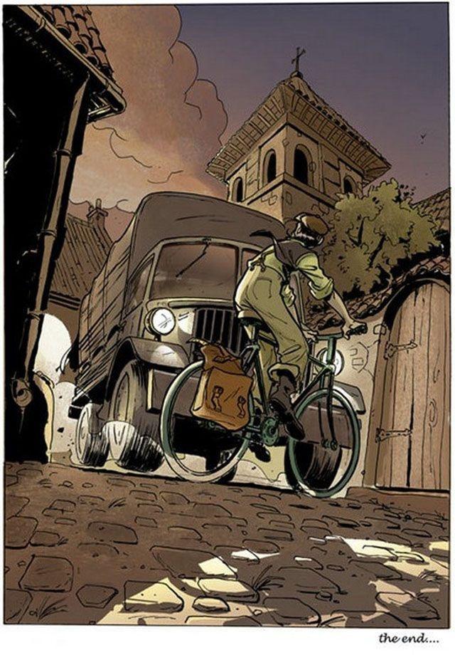 рисованная  девушка на велосипеде