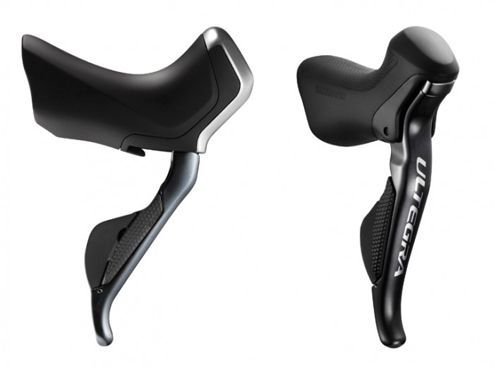 ST-R785 Shifter on the left, Shimano Ultegra 6870 Shifter on the right.