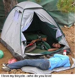 Bike in tent