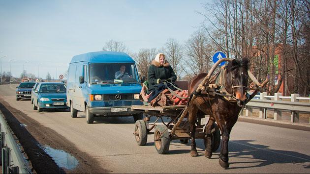 на возе и коне