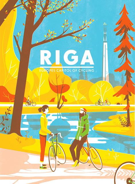 Рига,велосипед,рисунок